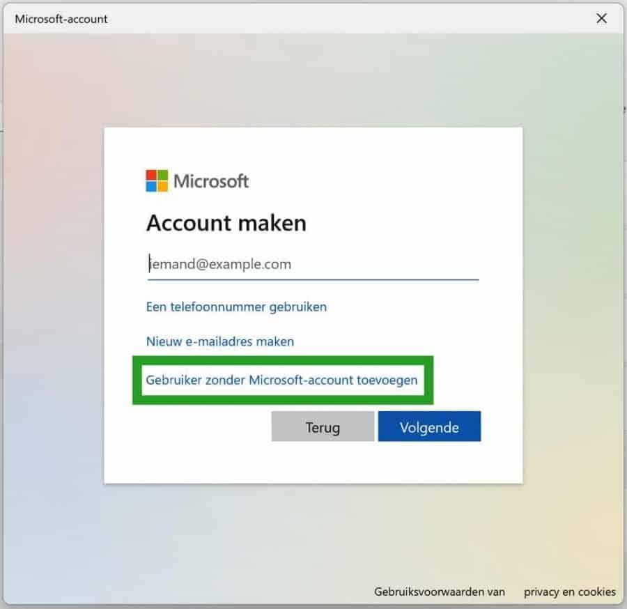 Gebruiker zonder Microsoft-account toevoegen