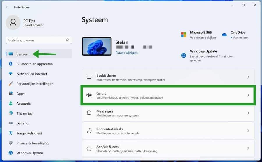 Geluid instellingen Windows 11