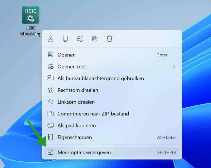 HEIC omzetten naar JPG in windows 11