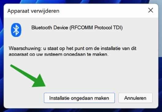 Installatie ongedaan maken Bluetooth apparaat