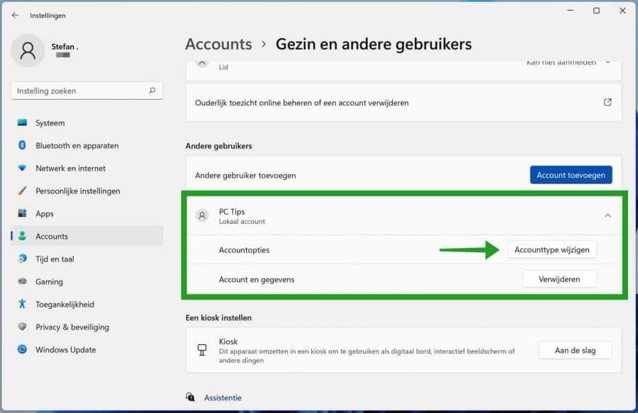 Lokaal accounttype wijzigen in Windows 11