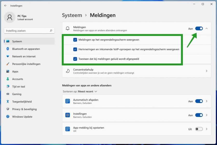 Meldingen uitschakelen in Windows 11