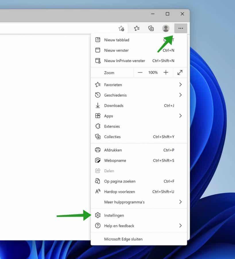 Microsoft Edge instellingen
