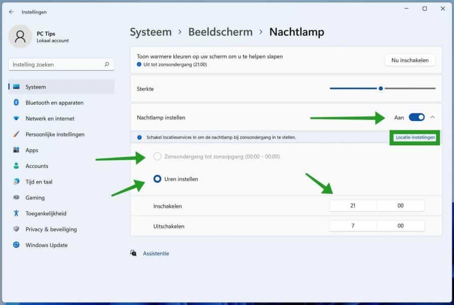 Nachtlamp configureren in Windows 11