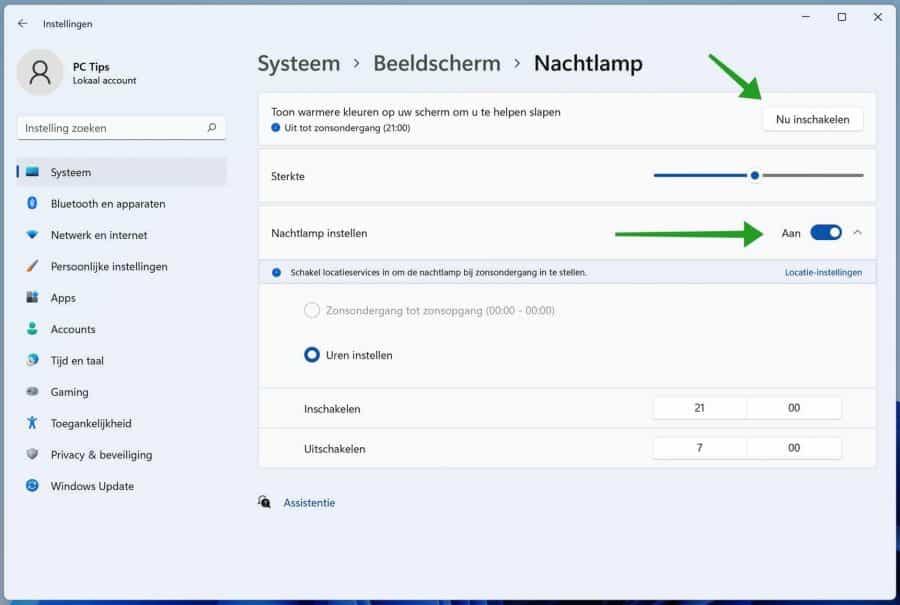 Nachtlamp inschakelen in Windows 11