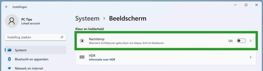 Nachtlamp instellingen in Windows 11