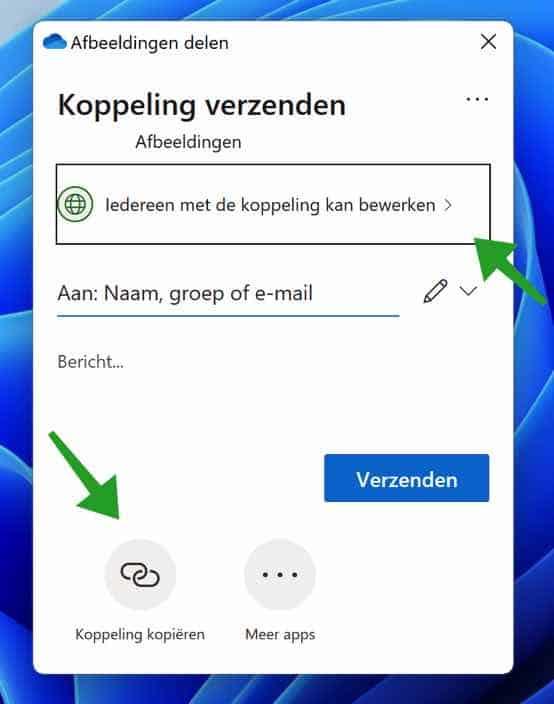 OneDrive bestanden delen
