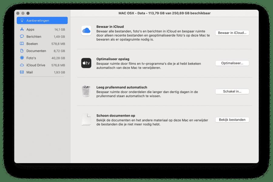 Opslag aanbevelingen mac