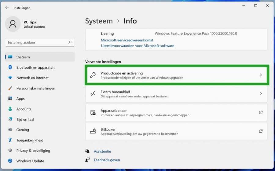 Productcode en activering in Windows 11