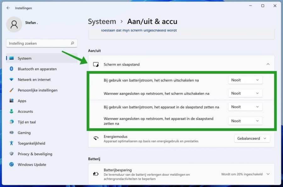 Scherm en slaapstand instellingen in Windows 11
