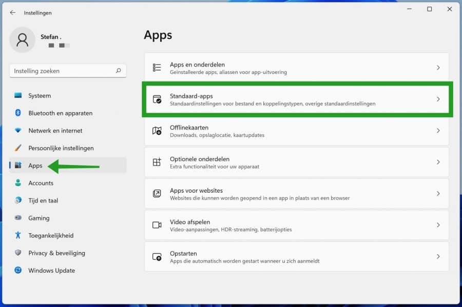 Standaard apps herstellen in Windows 11