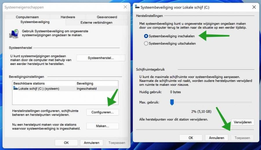 Systeemherstel inschakelen in Windows 11