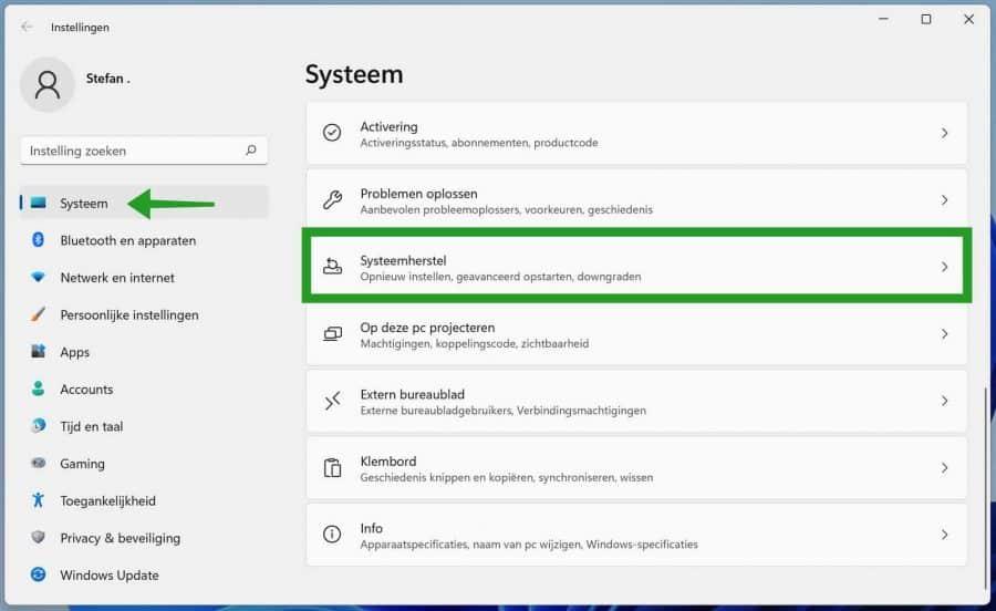 Systeemherstel opties in Windows 11