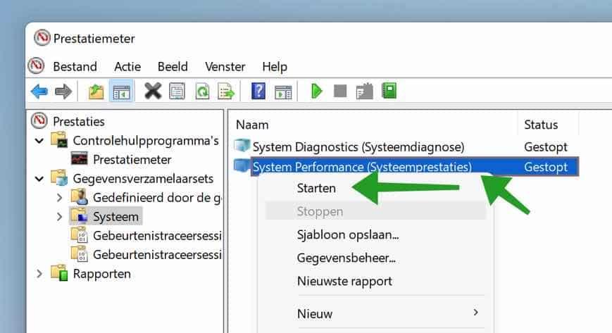 System performance test starten met de Prestatiemeter