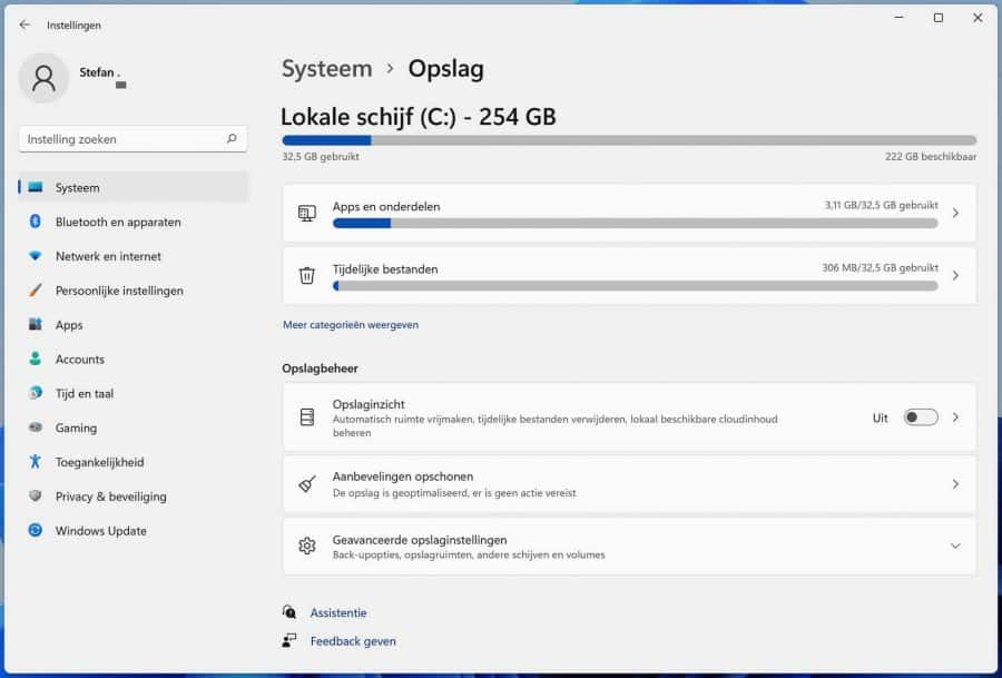 Tijdelijke bestanden wissen in Windows 11