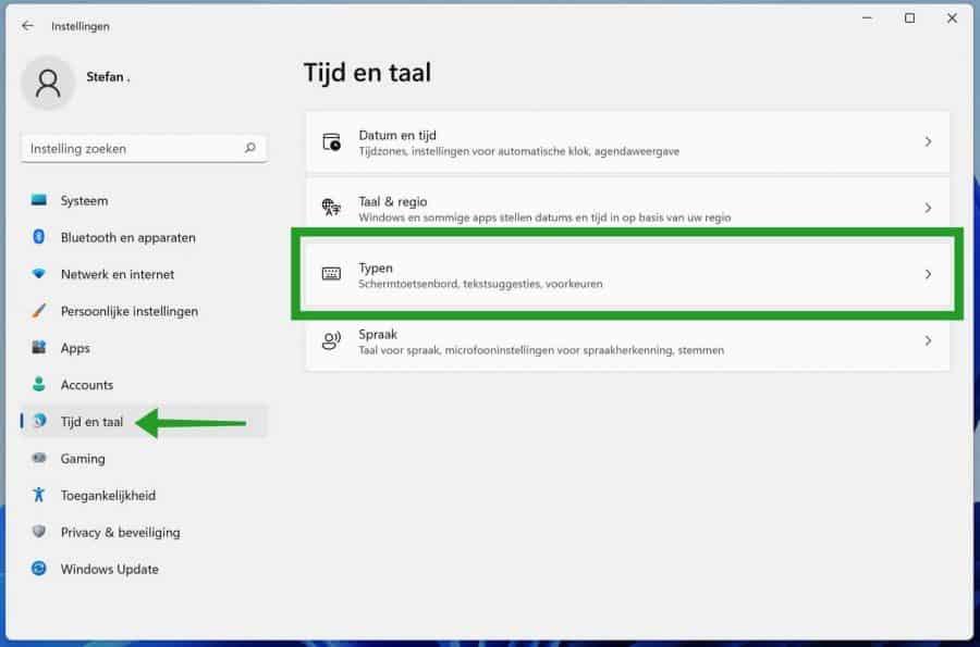 Typen instellingen in Windows 11