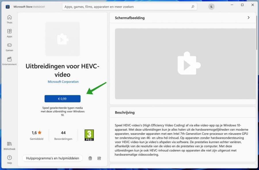 Uitbreiding voor HEVC-video extensie