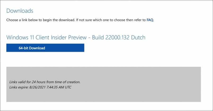 Windows 11 ISO-bestand download link