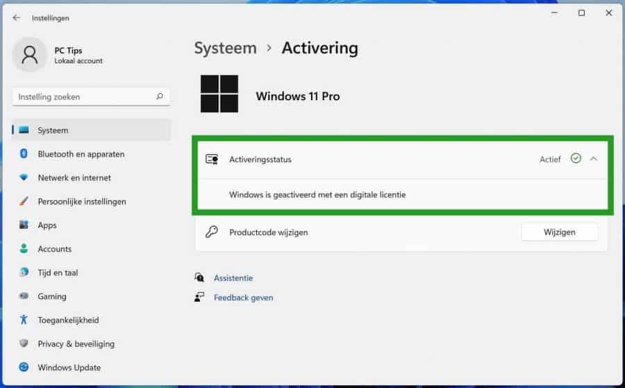 Windows 11 activeringsstatus