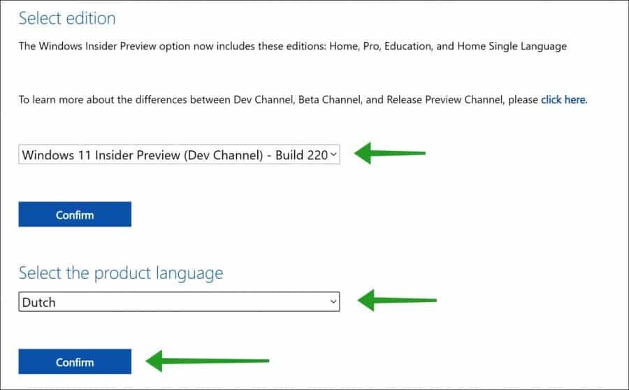 Windows 11 iso bestand downloaden selecteer editie en taal