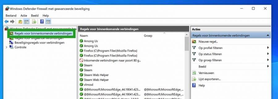 Windows Firewall binnenkomende verbindingen