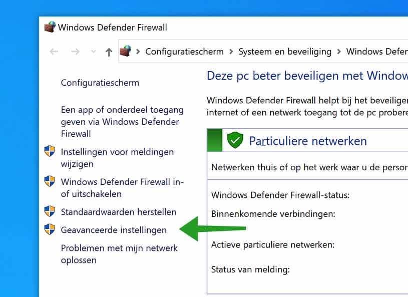 Windows Firewall geavanceerde instellingen
