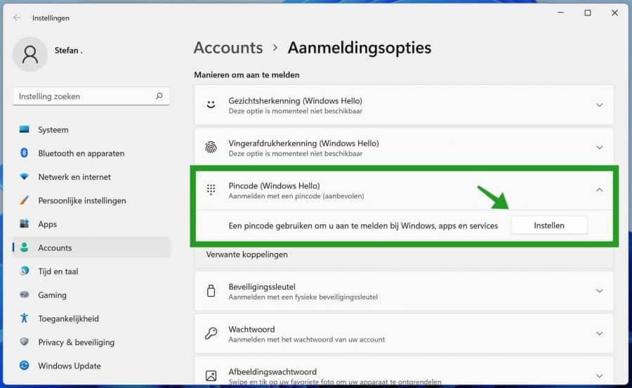 Windows Hello pincode instellen