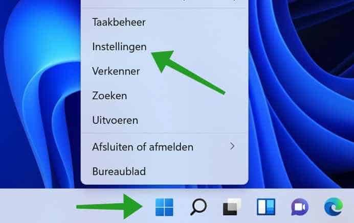 Windows instellingen openen