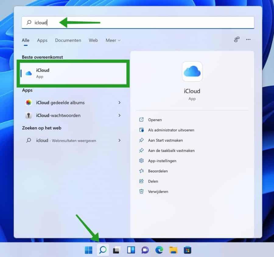 iCloud in Windows openen