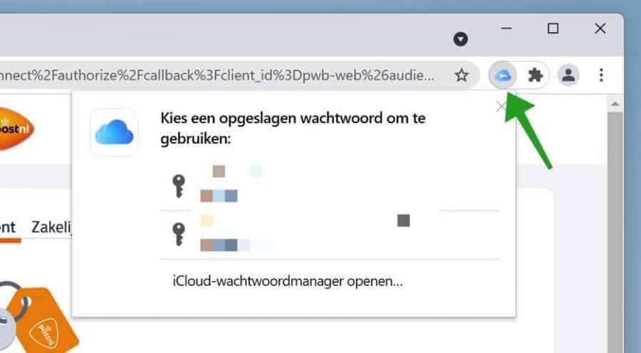 iCloud wachtwoorden in Google Chrome