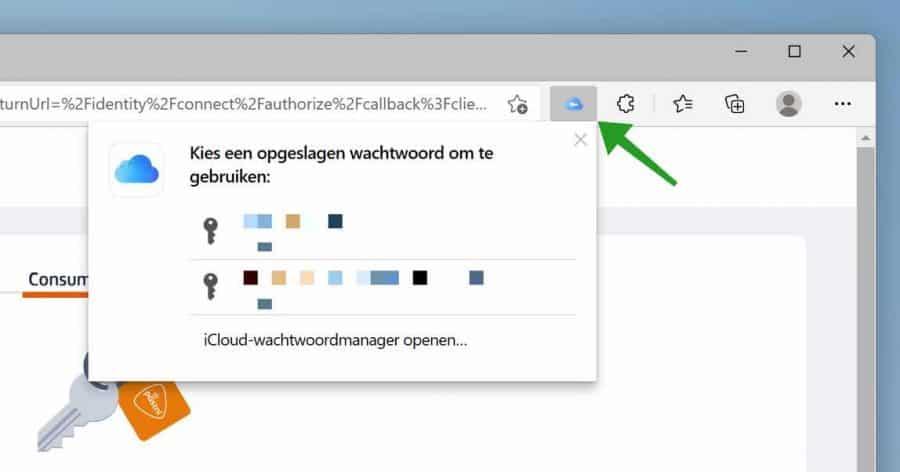 iCloud wachtwoorden in Microsoft Edge