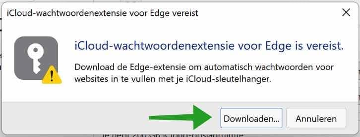 iCloud wachtwoordextensie installeren