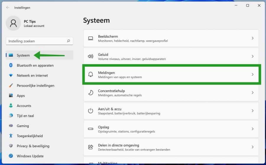 meldingen in Windows 11