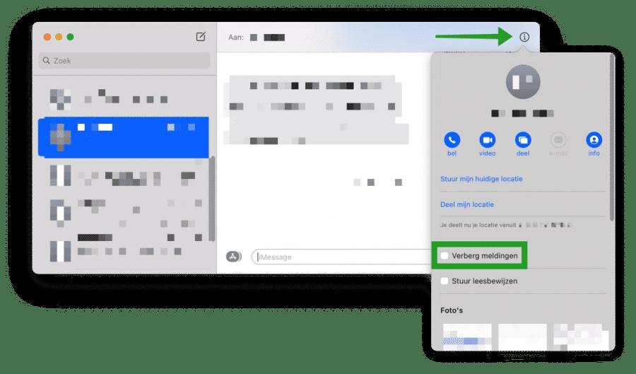 meldingen van specifiek contact verbergen in iMessage