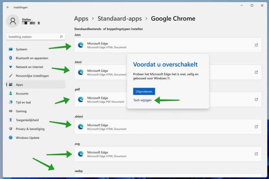 web browser bestandstype wijzigen in Windows 11