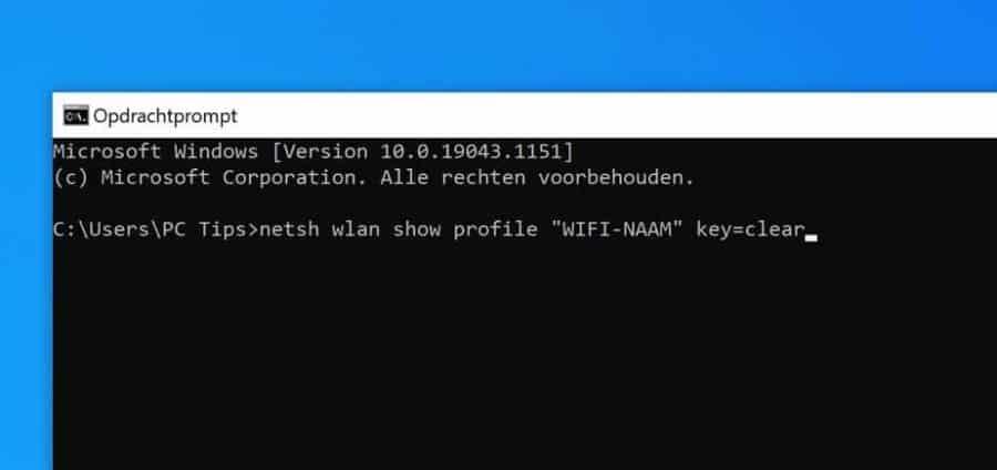 wifi wachtwoord opzoeken via opdrachtprompt