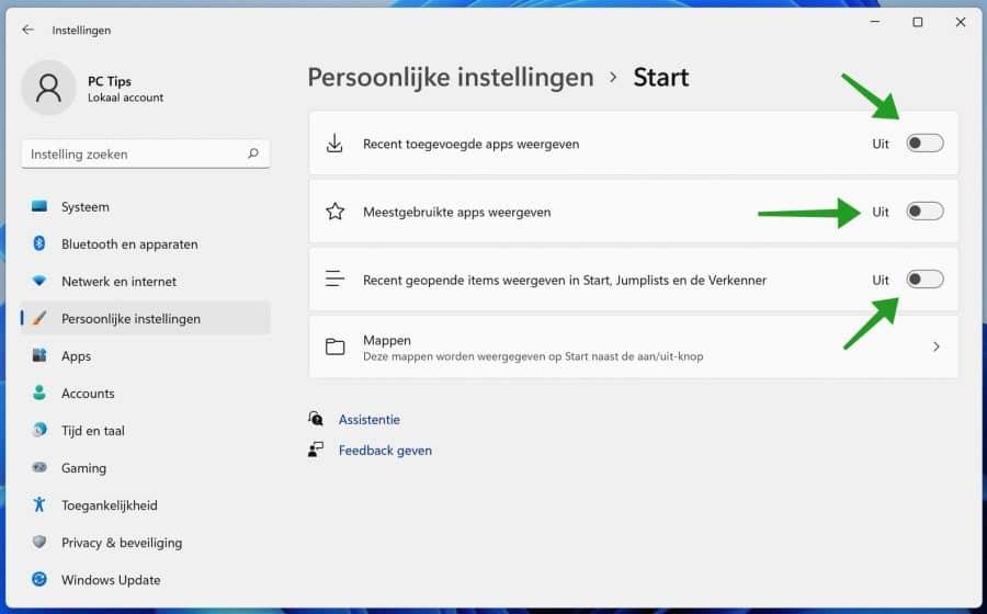 Aanbevolen verwijderen uit startmenu in Windows 11