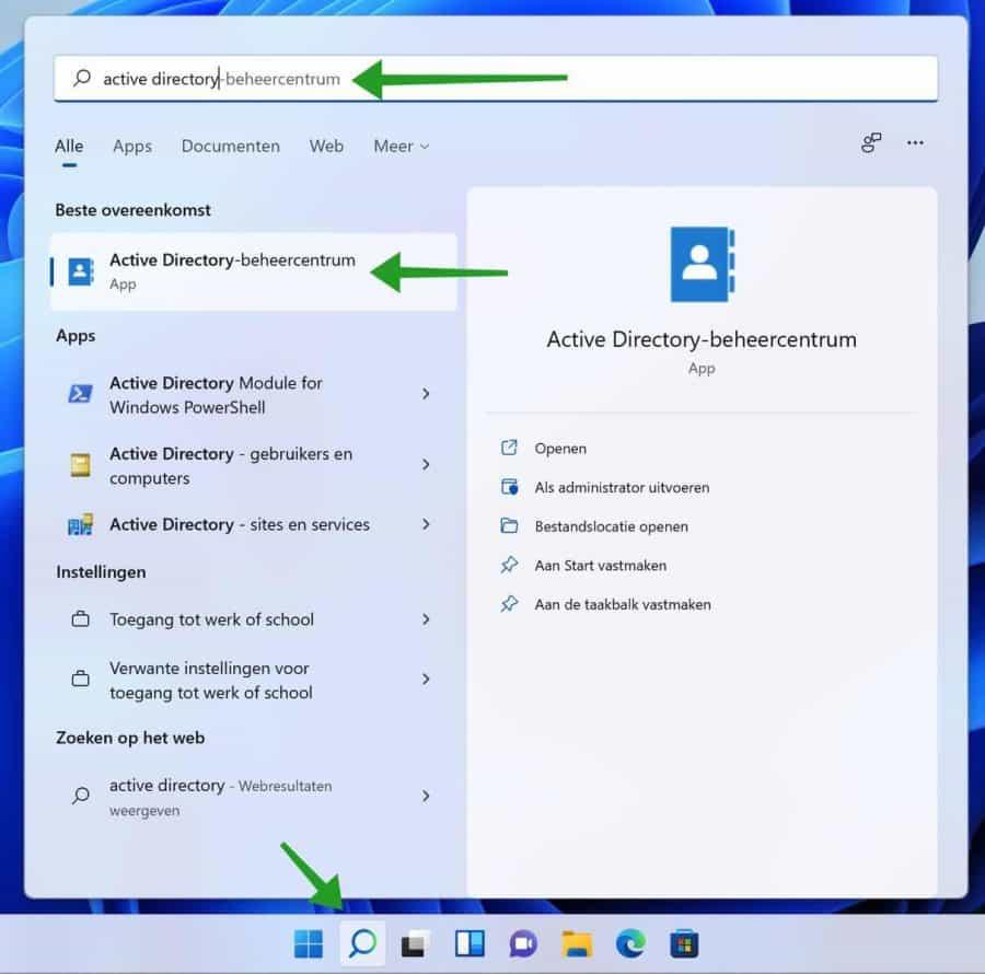 Active Directory-beheercentrum