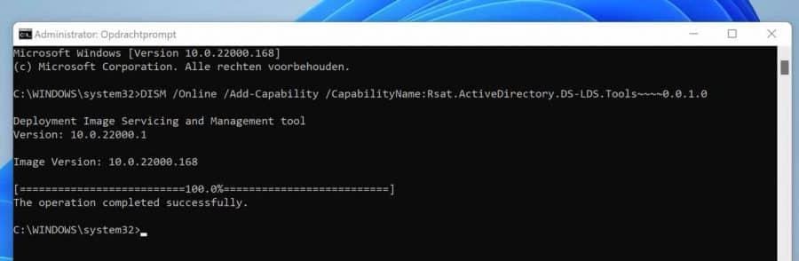 Active directory via Opdrachtprompt installeren
