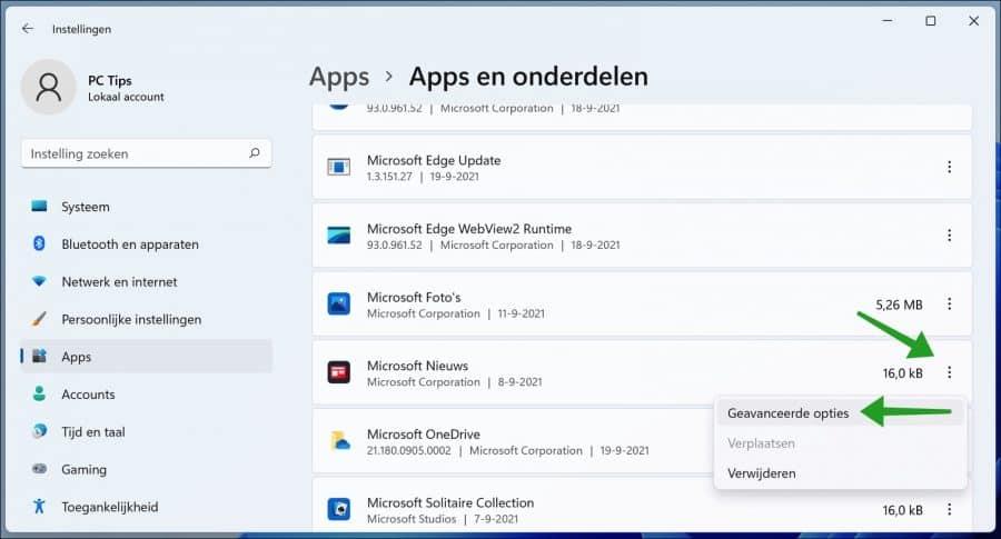 Apps - Geavanceerde opties