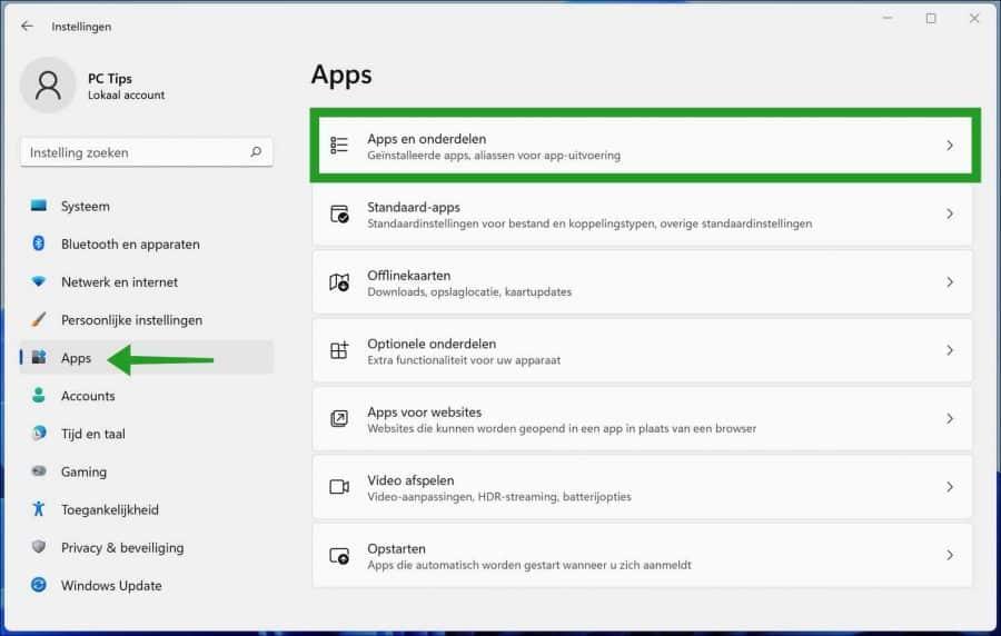 Apps en onderdelen in Windows 11