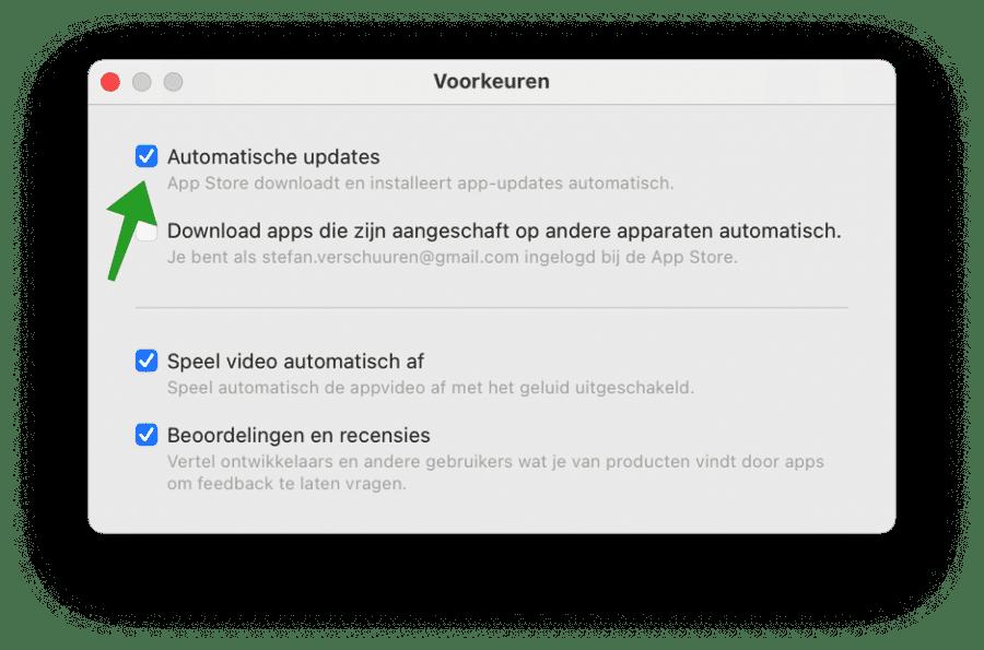 Automatische updates voor apps inschakelen in macOs