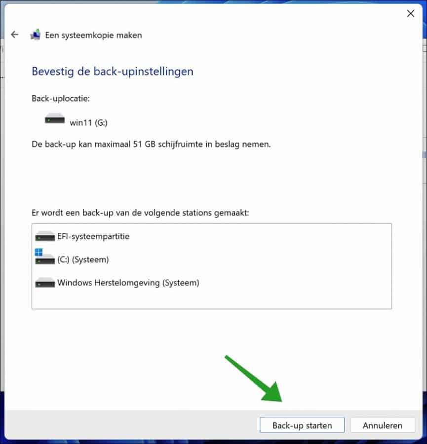 Back-up starten in Windows 11