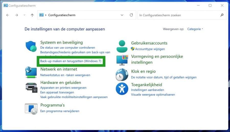 Back-up maken en terugzetten in Windows 11