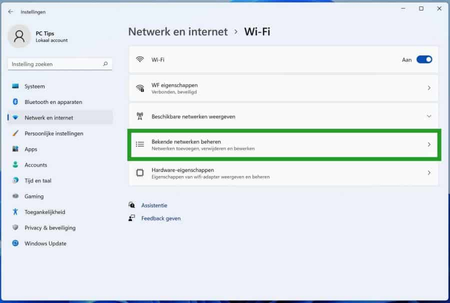 Bekende Wifi netwerken beheren in Windows 11