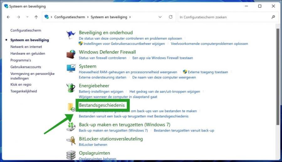 Bestandsgeschiedenis in Windows 11