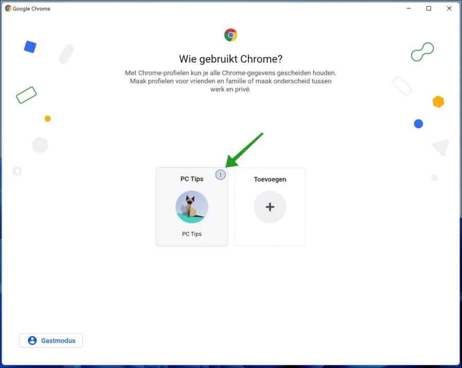 Chrome gebruikers profiel verwijderen
