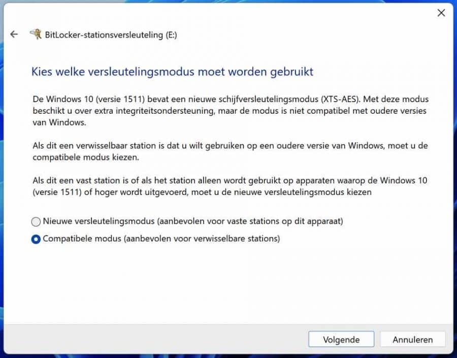 Compatibele modus Bitlocker usb