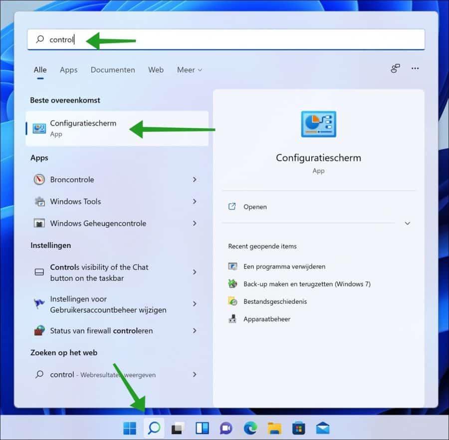 Configuratiescherm openen in Windows 11