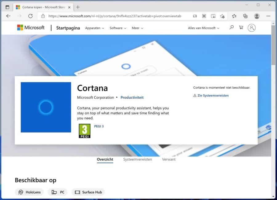Cortana installeren